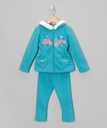 Teal Love Zip-Up Hoodie & Pants - Toddler & Girls