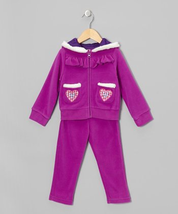 Purple Love Fleece Zip-Up Hoodie & Pants - Toddler & Girls
