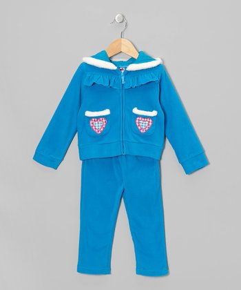 Blue Love Fleece Zip-Up Hoodie & Pants - Toddler & Girls