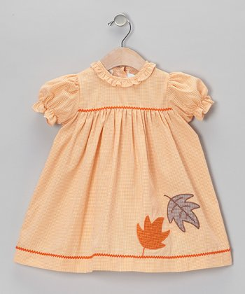 Orange Gingham Leaf Dress - Toddler