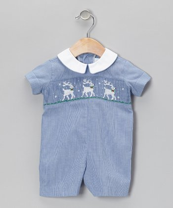 Blue Reindeer Romper - Infant