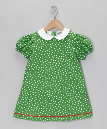 Green & White Polka Dot Swing Dress - Infant, Toddler & Girls