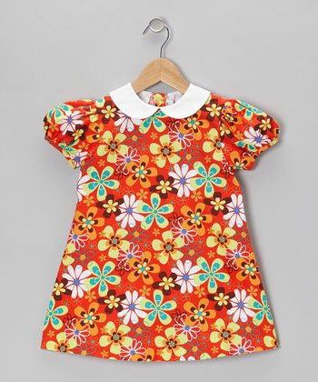 Orange Floral Swing Dress - Infant, Toddler & Girls