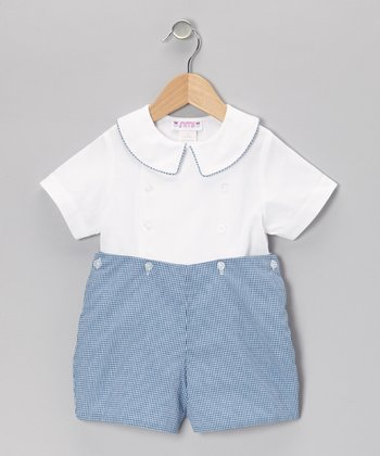 White Top & Blue Gingham Shorts - Infant & Toddler