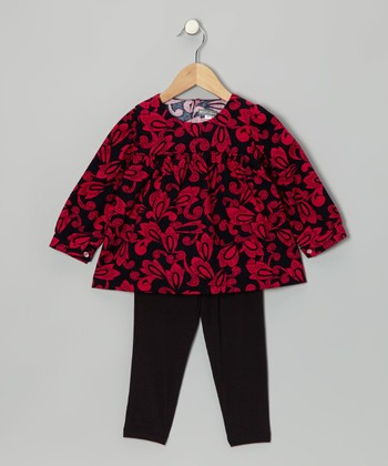 Magenta Paisley Corduroy Tunic & Black Leggings - Toddler & Girls