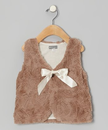 Taupe Faux Fur Vest - Toddler