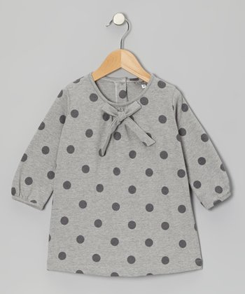 Gray Polka Dot Bow Tunic - Girls
