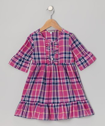 Magenta Plaid Bell-Sleeve Dress - Girls