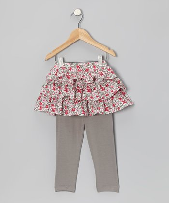 Pink & Gray Liberty Ruffle Skirted Leggings - Infant & Toddler