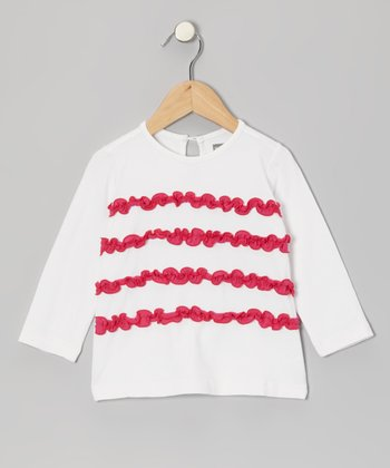 White & Pink Ruffle Tee - Infant & Toddler