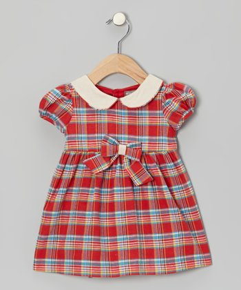 Red Plaid Bow Dress - Infant