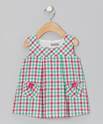 Pink & Aqua Plaid Pocket Dress - Infant