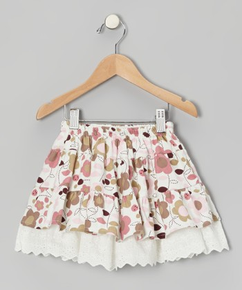 Pink Daisy Eyelet Corduroy Skirt - Toddler & Girls