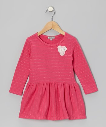 Pink Stripe Rosette Tunic - Girls