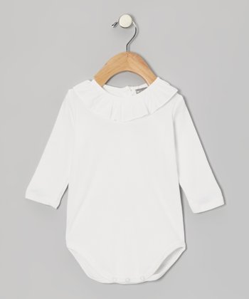 White Ruffle Collar Bodysuit - Infant