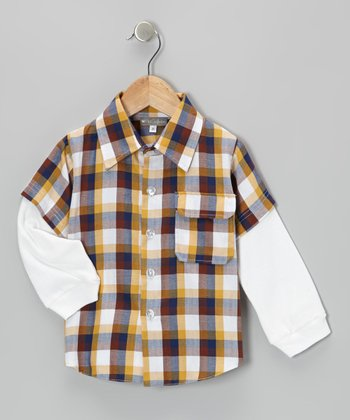 Yellow Plaid Layered Button-Up - Infant & Toddler