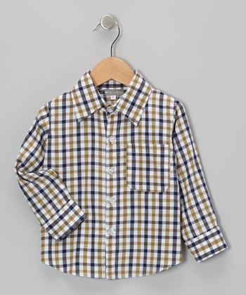 Gold & Blue Plaid Button-Up - Infant & Toddler