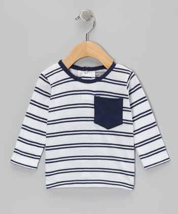 Navy & White Pocket Stripe Tee - Infant & Toddler