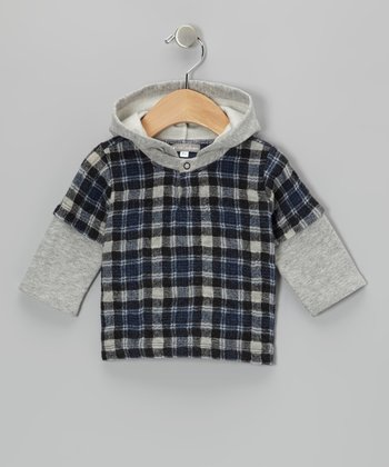 Blue Plaid Flannel Hooded Layered Tee - Infant