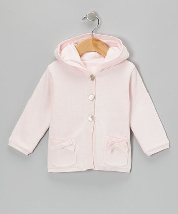 Blush Pink Bow Pockets Hooded Coat - Infant