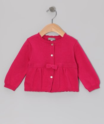 Fuchsia Scallop Cardigan - Infant