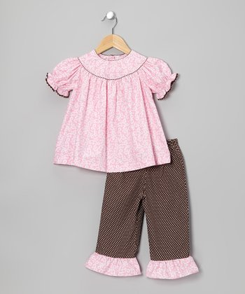 Pink Vine Tunic & Polka Dot Ruffle Pants - Toddler & Girls
