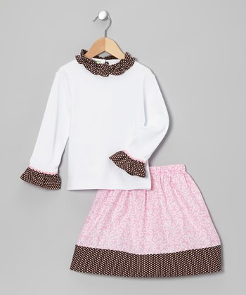 White & Pink Polka Dot Tee & Skirt - Toddler & Girls