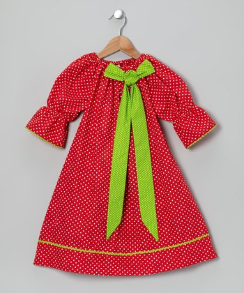 Red & Lime Bow Polka Dot Dress - Toddler & Girls