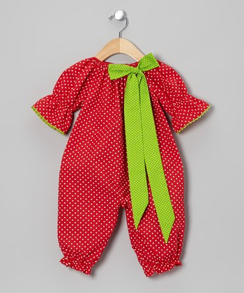 Red & Lime Polka Dot Playsuit - Infant