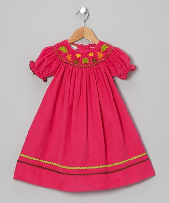 Pink Leaf Corduroy Bishop Dress - Infant & Toddler