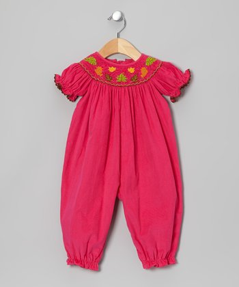 Pink Leaf Corduroy Smocked Playsuit - Infant