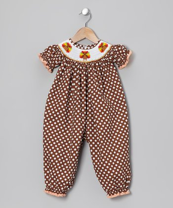 Brown Turkey Smocked Playsuit - Infant