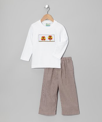 White Turkey Tee & Tan Pants - Toddler