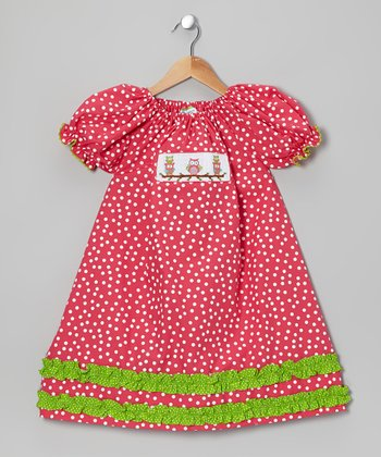 Hot Pink Owl Smocked Peasant Dress - Infant, Toddler & Girls