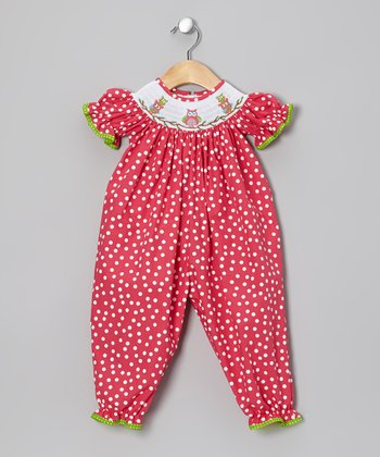 Red Owl Smocked Playsuit - Infant