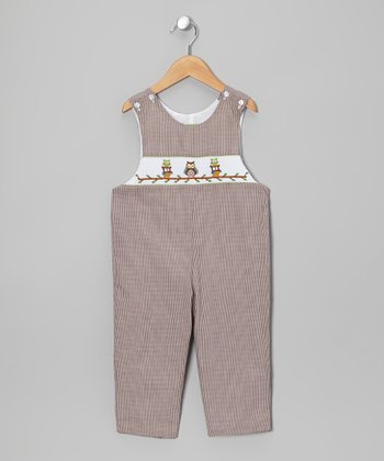 Brown Owl Smocked Overalls - Infant