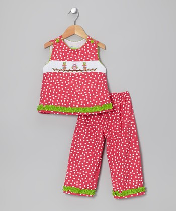 Hot Pink Owl Smocked Tank & Pants - Toddler & Girls