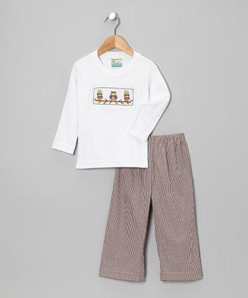 White Owl Tee & Tan Pants - Toddler