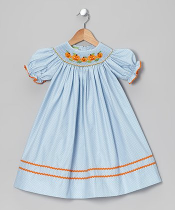 Light Blue & Orange Bishop Dress - Infant, Toddler & Girls
