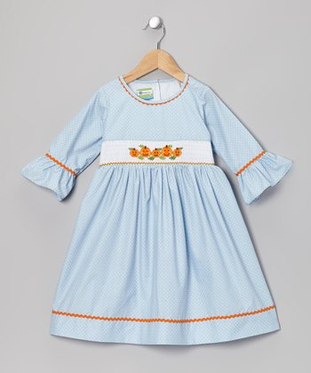 Light Blue & Orange Jack-o'-Lantern Dress - Toddler & Girl