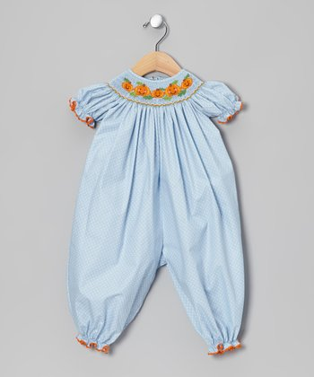 Light Blue & Orange Jack-o'-Lantern Bishop Playsuit - Infant