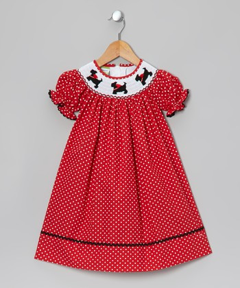 Red Scottie Bishop Dress - Infant