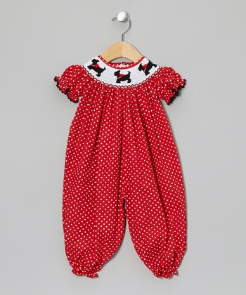 Red Scottie Smocked Playsuit - Infant