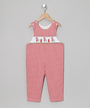 Red Dalmatian Smocked Overalls - Infant