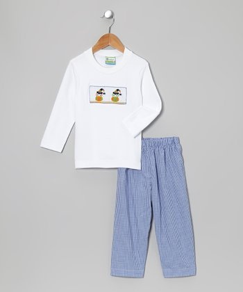 White Owl Witch Tee & Blue Pants - Toddler