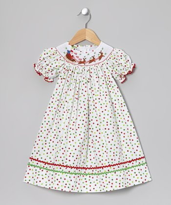 Red & Green Santa Bishop Dress - Infant, Toddler & Girls