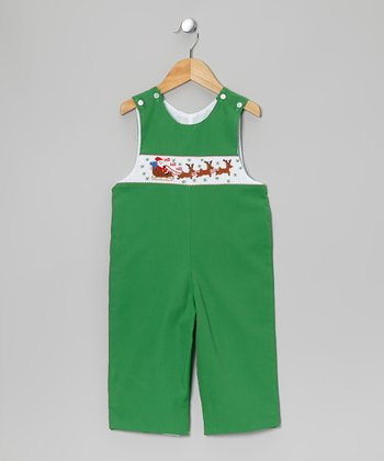 Green Santa Smocked Overalls - Infant
