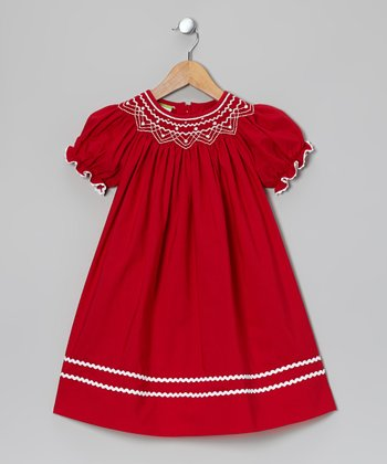Red & White Bishop Dress - Infant, Toddler & Girls