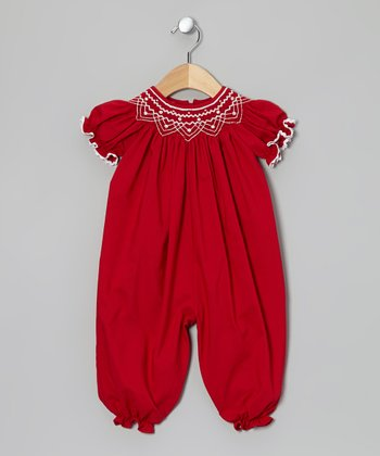 Red & White Smocked Playsuit - Infant