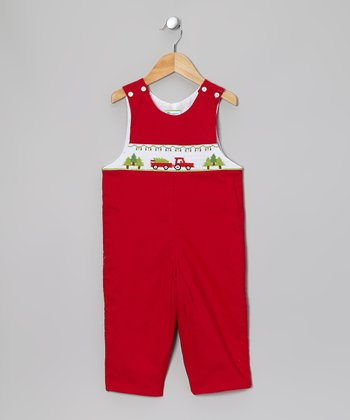 Red Cutting Christmas Tree Smocked Overalls - Infant